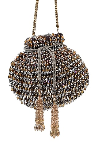 Brown & Silver Embroidered Potli by SG BY SONIA GULRAJANI
