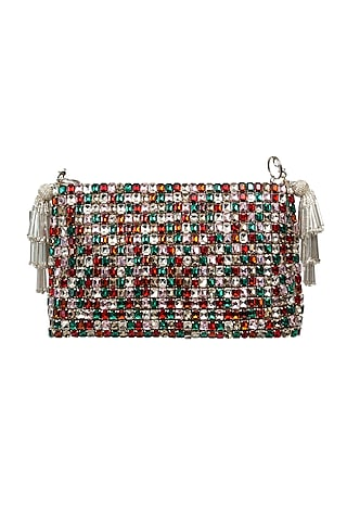 Multi Colored Embroidered Clutch by SG BY SONIA GULRAJANI