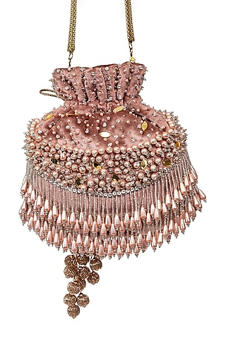 Pink Pearl Embroidered Potli by SG BY SONIA GULRAJANI