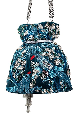 Blue Floral Embroidered Potli by SG BY SONIA GULRAJANI