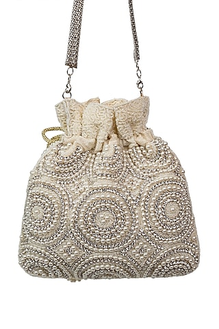 Ivory Pearl Embroidered Potli by SG BY SONIA GULRAJANI