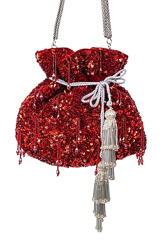 Red Sequins Embroidered Potli by SG BY SONIA GULRAJANI