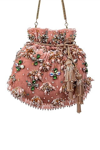 Pink Crystal Embroidered Potli by SG BY SONIA GULRAJANI
