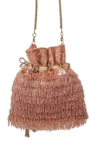 Pink Beads Embroidered Potli by SG BY SONIA GULRAJANI