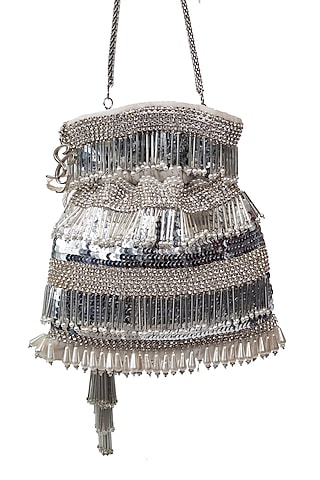 Silver Sequins Embroidered Potli by SG BY SONIA GULRAJANI