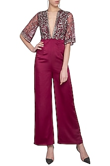 Wine embroidered jumpsuit by Sanya Gulati