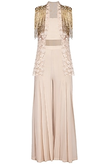 Beige embroidered jacket with palazzo pants and bustier by Sanya Gulati