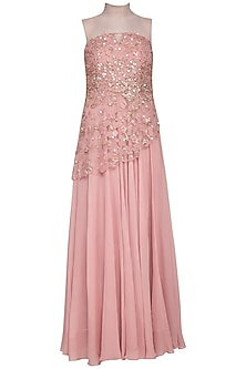Blush pink embroidered gown with bustier by Sanya Gulati