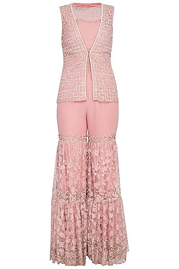 Blush pink embroidered sharara pants with jacket and bustier by Sanya Gulati