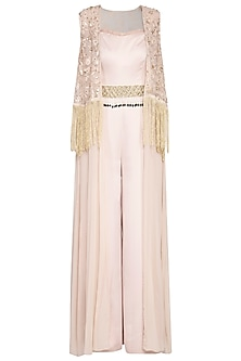 Beige jumpsuit with embroidered cape and belt by Sanya Gulati
