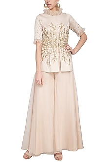 Beige embroidered jacket with pants by Sanya Gulati