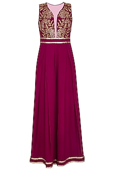 Wine embroidered floral jumpsuit by Sanya Gulati