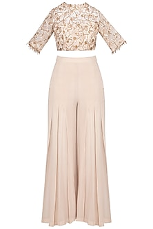 Beige embroidered crop top with palazzo pants by Sanya Gulati