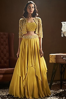 Mustard Yellow Embroidered Jacket Lehenga Set by Sanya Gulati