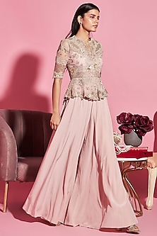 Nude Pink Embroidered Peplum Top With Palazzo Pants by Sanya Gulati