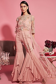 Pink Embroidered Cape With Bustier & Pants by Sanya Gulati