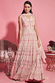 Nude Pink Embroidered Anarkali With Dupatta by Sanya Gulati