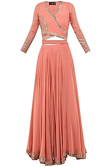 Dusty Peach Embroidered Wrap Crop Top with Lehenga Skirt Set by Sanya Gulati