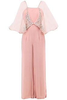 Pale Pink Embroidered Jumpsuit with Attached Cape by Sanya Gulati