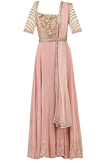 Pale Pink Embroidered Anarkali Gown by Sanya Gulati