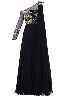 Midnight Blue Embroidered Anarkali Gown by Sanya Gulati