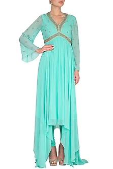 Blue Embroidered Anarkali Kurta With Pants by Shilpi Gupta Surkhab