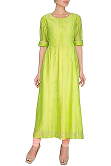 Neon Green Embroidered Midi Dress by Shilpi Gupta Surkhab