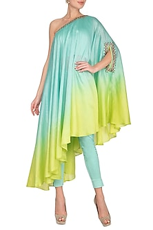 Blue Embroidered One Shouldered Kurta With Pants by Shilpi Gupta Surkhab