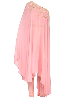 Pink Embroidered Asymmetric Kurta With Pants by Shilpi Gupta Surkhab