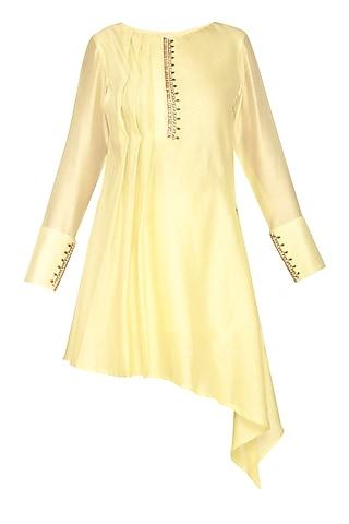 Lemon Yellow Embroidered Asymmetric Tunic by Shilpi Gupta Surkhab