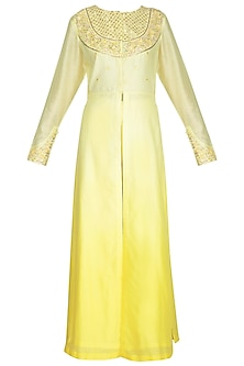 Lemon Yellow Embroidered Kurta Set by Shilpi Gupta Surkhab