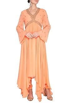 Orange Embroidered Asymmetric Anarkali Kurta With Pants by Shilpi Gupta Surkhab