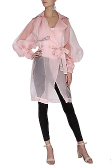 Pink sheer trench coat with bustier by Shilpi Gupta Surkhab