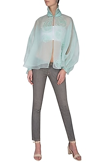 Mint green sheer cape with bustier by Shilpi Gupta Surkhab