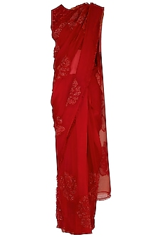 Red embroidered saree set by Shilpi Gupta Surkhab