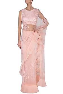 Pink embroidered saree set by Shilpi Gupta Surkhab