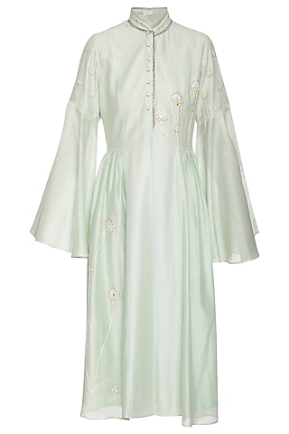 Pastel green midi dress by Shilpi Gupta Surkhab