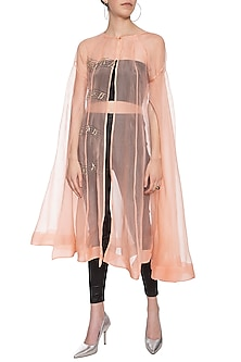 Peach musical note trench coat by Shilpi Gupta Surkhab