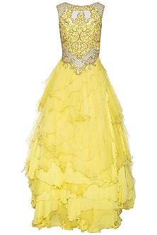 Yellow embellished ruffled gown by Shilpi Gupta Surkhab