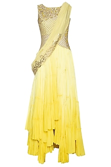Yellow ombre drape anarkali set by Shilpi Gupta Surkhab