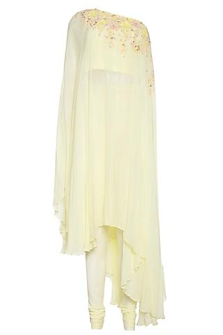 Lemon one shoulder tunic with pants by Shilpi Gupta Surkhab