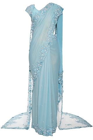 Powder blue embroidered saree set with cape by Shilpi Gupta Surkhab
