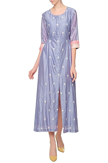 Lilac Embroidered Midi Dress by Shilpi Gupta Surkhab