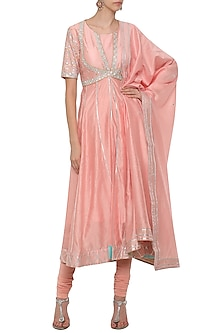Pink Embroidered Anarkali Set by Shilpi Gupta Surkhab