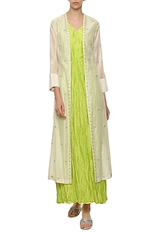 Neon Green Crushed Maxi Dress with Ivory Embroidered Jacket by Shilpi Gupta Surkhab
