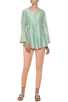 Powder Blue Embroidered Tunic with Pink Trousers by Shilpi Gupta Surkhab