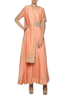 Orange Embroidered Anarkali Gown Set by Shilpi Gupta Surkhab