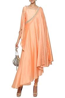 Orange Asymmetrical Embroidered Drape Kurta with Churidar Pants by Shilpi Gupta Surkhab