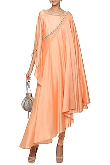 Orange Asymmetrical Embroidered Drape Kurta with Churidar Pants by Shilpi Gupta Surkhab