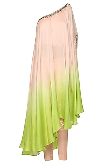 Pink To Lime Green Ombre One Shoulder Embroidered Kurta with Churidar Pants by Shilpi Gupta Surkhab